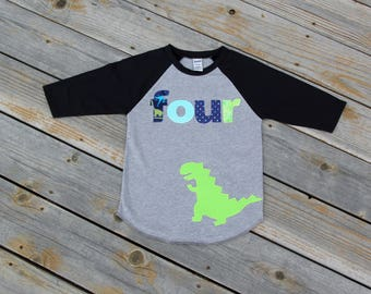 Dinosaur Fourth Birthday Shirt, Boy Fourth Birthday Shirt, Birthday Baseball Tee, Fourth Birthday Shirt