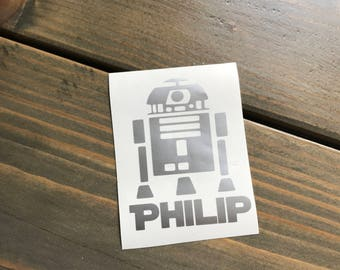 R2D2 Decal, Personalized Star Wars Vinyl Decal, Yeti Decal, Monogram, Vinyl Monogram Phone Sticker