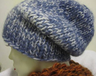 winter hat hand knit in wool, mohair blend in blue and white - size S/M