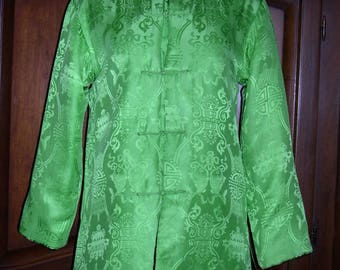 Asian style evening jacket, reversible green silk/black velvet,size Medium