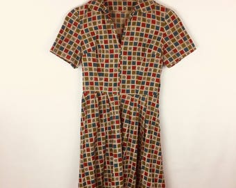 60's Handmade Brown Dress Red Blue Checker Fit and Flare Dress