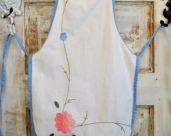 Cotton Apron Upcycled Vintage Linens Size 4