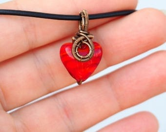 Small red heart pendant ~ Wire wrapped jewelry ~ Handmade