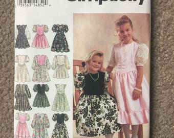 Girls Holiday Party Special Occasion Dress with Full Gathered Skirt - Simplicity 8754 - Sizes 7 - 10