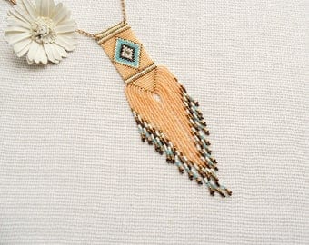 Seed Bead Necklace - Beaded Tribal Necklace - Pastel Necklace - Tribal Pendant - Boho Necklace - Beach Jewelry -Ethnic Necklace