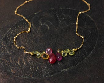 Ruby, Pink Sapphire and Citrine Necklace. Bridesmaid Gift. Briolette Bar Necklaces.  Multi Gemstone Necklaces.  N2398