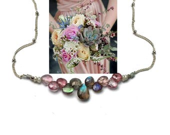 Bridesmaid Gift. Pink Spinel and Labradorite Necklace.  Gemstones Match Wedding Colors. Multi Gemstone Necklaces.  N2397
