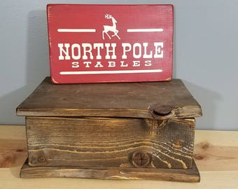 North Pole Stables - Funny Chirstmas Sign - Simple, Hand Painted, Rustic Wooden Sign