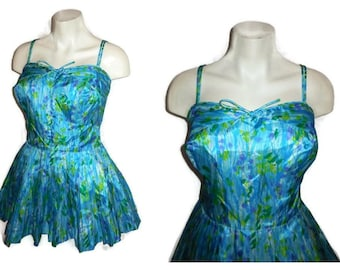 Vintage 1960s Bathing Suit Gabar Skirted Playsuit Swimsuit Ruching Bullet Bra Impressionist Floral Rockabilly Beach Outfit M L chest 40