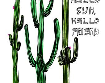 Cactus Card, Bestie Card, Greeting Card, Art Card, Illustrated Card, Blank Notecard