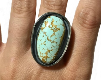 Chunky Silver Boho Turquoise Ring Size 9 3/4 | Paradise Nevada Natural Stone | Sterling Silver