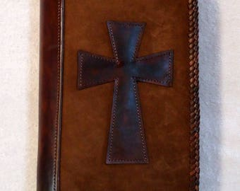 IN STOCK Concealed Handgun Leather Pistol Case with Appliqued Cross on Both Sides
