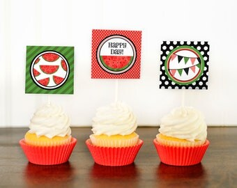 Watermelon Cupcake Topper - Watermelon Party - Watermelon Decor - Watermelon Birthday - Watermelon Party Circles - Printable Cupcake Toppers