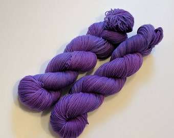 Muted Purple on Max 80/20 SW Merino Nylon Hand dyed fingering weight sock yarn