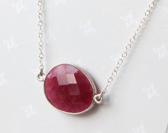 Ruby Oval Necklace, Sterling Silver, pinkish-red gemstone, simple minimalist everyday necklace, July birthstone, holiday gift for her, 4359