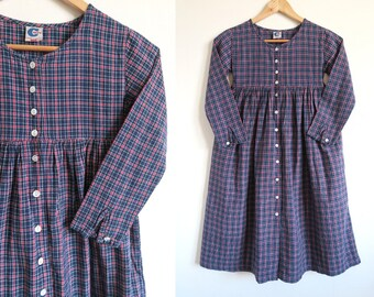 Vintage Girls Checked Prairie Dress by H&M Hennes and Mauritz, Long Sleeve Button-Up Dress, Empire Waist, Navy Blue, Red, White, Size 134