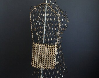 Vintage Walborg Evening Purse Gold Chain Mail Metal Mesh Retro Handbag Made In Hong Kong