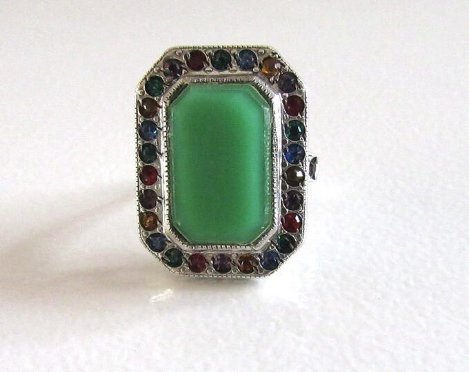 Sterling Silver Green Glass and Multi Colored Stone Ring, Sterling Silver Ring, Funky, Fun Ring, Fun Sterling Ring, Statement Ring