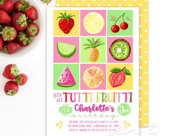 Watercolor Tutti Fruitti Invitations / Tutti Frutti Invitations / Tutti Fruitti Party / Fruit Invites