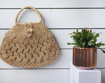 Vintage eco natural beige raffia straw woven round purse chic market shopping summer beach handbag bag