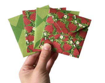 Set of 4 // Mini Square Envelopes // Strawberry Stationery // Strawberry Envelopes // Summer Stationery // Mini Envelopes / Square Envelopes
