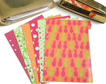 Set of 6 // A5 or Personal Planner Dividers // A5 Dividers // Personal Dividers // Pineapple Dividers // Summer Planner Dividers