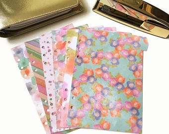 Set of 6 // A5 or Personal Planner Dividers // A5 Dividers // Personal Dividers // Watercolor Floral Dividers // Watercolor Dividers