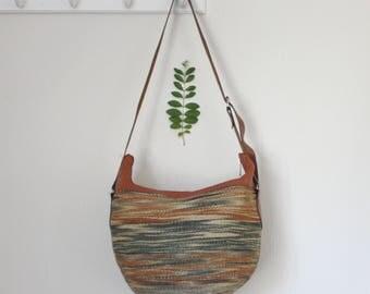 Vintage Sisal Market Bag Leather Straps Straw Purse Straw Beach Bag Sisal Tote Straw Tote Round Straw Bag Tote Sisal Bag Zipper Closure