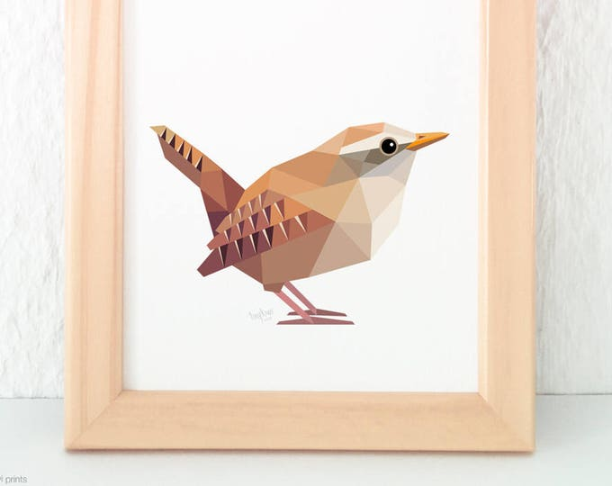 Wren print, Brown wren, Eurasian wren, European wren, Winter birds, Garden birds, Woodland creatures, European wildlife, Geometric wren art