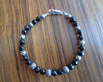 Black onyx and silver bead bracelet.