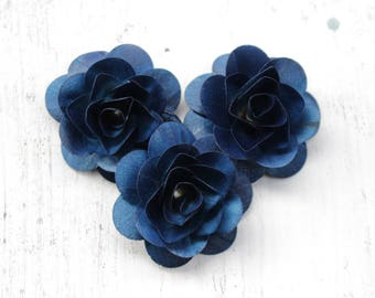 Wooden Roses 12 Pcs Navy Blue Birch for Weddings, Home Decorations, Scrapbooking and Floral Arrangements