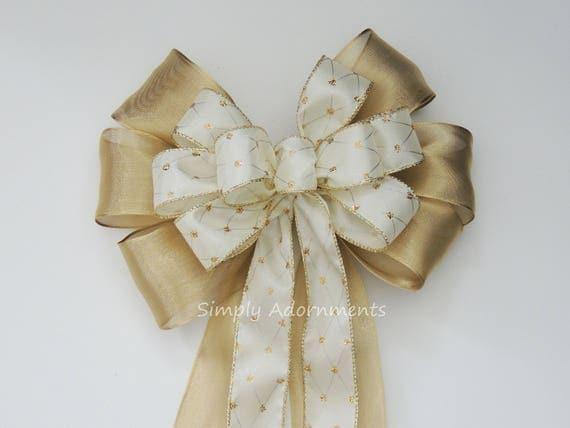 Gold Ivory Wedding Pew Bow Ivory and Gold Wedding Ceremony Decoration Gold Ivory Wedding Aisle Bow Ivory gold Harlequin Wired ribbon Bow