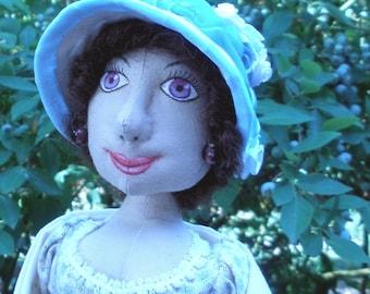 Madeline, 17 inch Regency style handmade cloth doll
