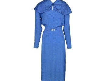 Vintage 1920s Silk Day Dress / Art Deco / Print / Blue / Capelet / Rhinestone Buckle // M
