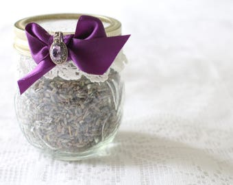 LAVENDER JAR, Upcycled Vintage Glass Jar with French Dried Lavender Buds, Gifts for Her