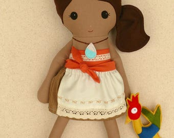 Reserved for Victoria - Fabric Doll Rag Doll Brown Haired Girl in Coral Halter Top and Ecru and Lace Skirt with Stuffed Felt Chicken