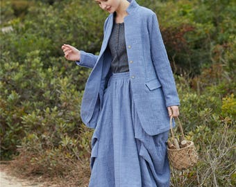 Linen Trench Coat Jacket In Grey Long Coat Winter Coat