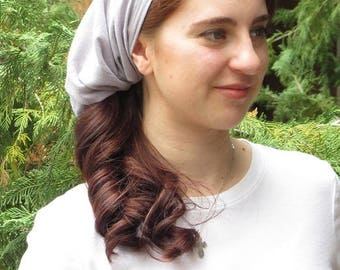 Women Coverings SCT41g - Christian Headcovering Headband Headscarf with Ties in Grey