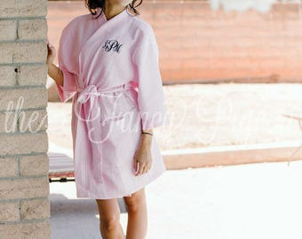 EMBROIDERED ROBE - Cotton Waffle Robe - Personalized Robes - Bridesmaid Robe - Cotton Robes for Bridesmaids - Maid of Honor Robe - Kimono