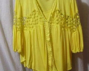 Two piece Set, Cardigan, Over Blouse with Tank/Camisole, Yellow, Lace Accents, Charming, Size M, Summer, Resort Cruise, School Clothes