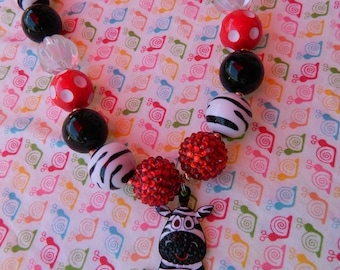 "18"" Red & Black Zebra Chunky Bead Girls Necklace *ready to ship*"