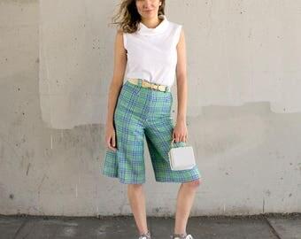 70s/60s Plaid Wool Shorts
