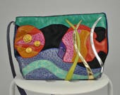 80s Vintage Patchwork Bag / Colorful Crossbody / Exotic Leather Purse / Fish Purse / Tropical Handbag 80s Purse / Sharif Purse / 80s Bag