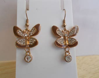 Gold tone Butterfly Dangle Earrings with Clear Rhinestones and a Clear Crystal Dangle