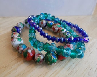 3 Stretch Bangle Bracelets with Melifonie Beads and Turquoise, Light and Dark Blue Crystal Beads