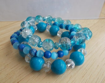 3 Stretch Bracelets with Blue Crystals, Cats Eye and Turquoise Beads