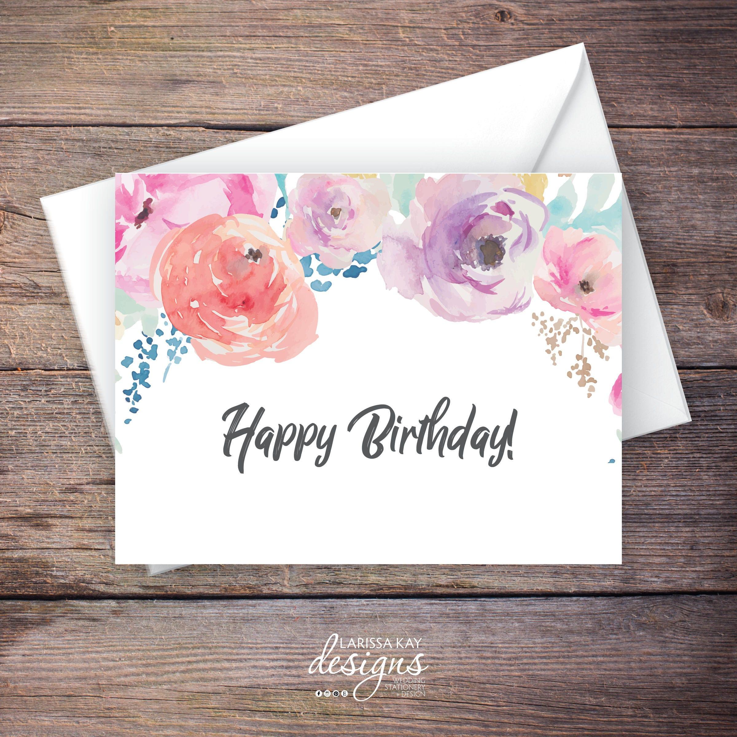 Printable floral happy birthday greeting card instant download printable floral happy birthday greeting card instant download greeting card birthday card c haven kristyandbryce Gallery