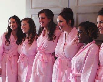 Monogrammed Waffle Weave Robe - Thigh length Robe - Bridal Robes - Robe - Bridesmaid Robes