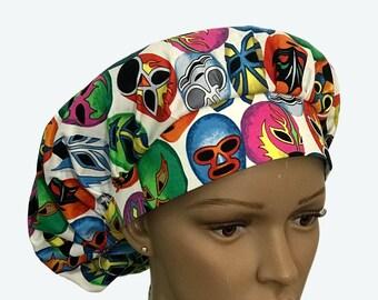 Bouffant Surgical Scrub Hat - Mascara De Pelea Lucha Libre Bouffant Scrub Hat - Mexican Mask Ponytail Scrub-Custom-Personalized Scrub hat