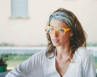 Gray Headband, Head Wraps For Women And Girl, Bohemian Head Wrap, Cotton Headband, Scarf Headband, Hippie Clothing, Tribal Headband
